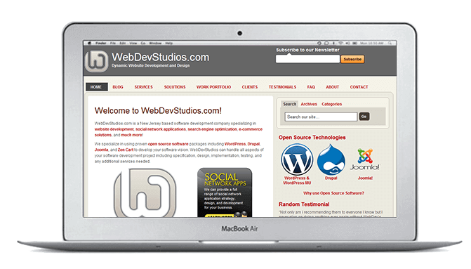 Screenshot of WDS.com in 2009 on desktop