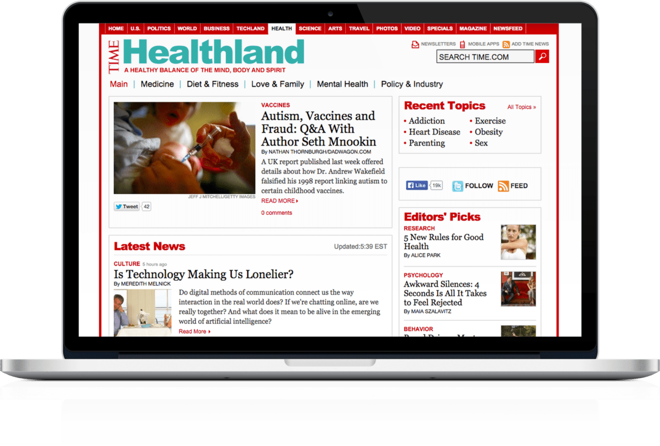 Time Healthland landing page on laptop