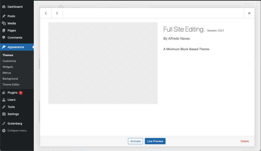 """This is a screenshot of the appearance of the theme. It is blank but says, """"Full sit editing, Version 0.0.1, by Alfredo Navas. A minimu block based theme."""" At the bottom is an Activate button and a Live Preview button."""
