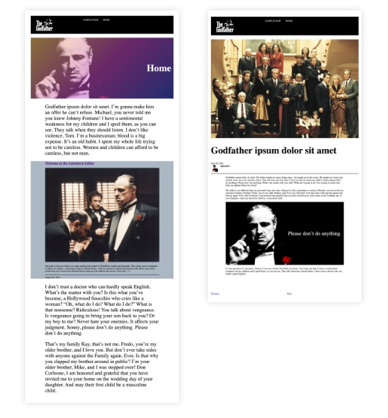 This is a screen shot of the author's header, hero section, and single post page all built just by using blocks.